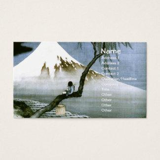 Cartes De Visite Beaux-arts de Japonais de garçon et de mont Fuji