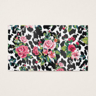 Cartes De Visite Beaux roses et léopard vintages à la mode girly