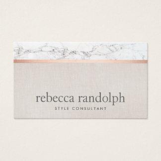 Cartes De Visite Beige rose de marbre d'or de coiffeur à la mode