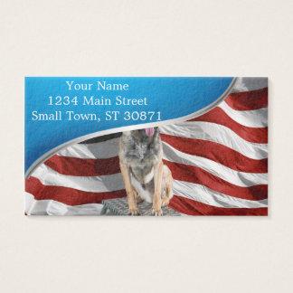 Cartes De Visite Berger allemand Etats-Unis - chien patriotique -