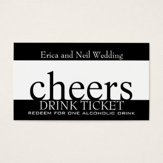 Cartes De Visite Billet blanc noir de boissons pour des réceptions