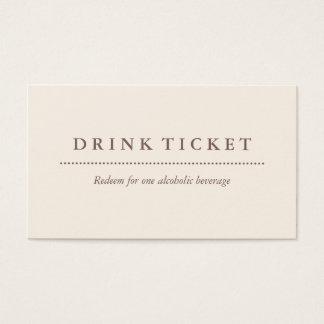 Cartes De Visite Billet propre de base de boissons de Brown de