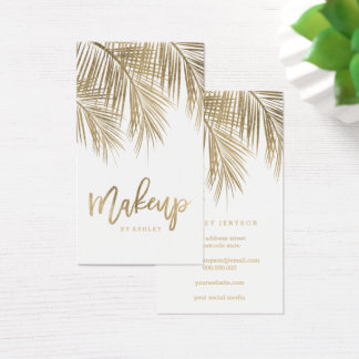 Cartes De Visite Blanc de feuille de palmier d'or de typographie de