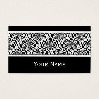 Cartes De Visite Blanc de noir de motif d'hypnose + votre texte
