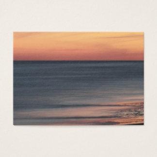 Cartes De Visite Blanc élégant de coucher du soleil de plage