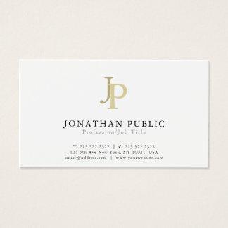 Cartes De Visite Blanc élégant moderne de monogramme professionnel