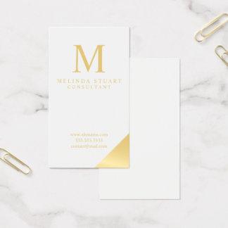 Cartes De Visite Blanc et monogramme élégant d'or