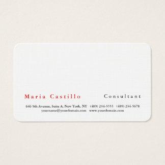 Cartes De Visite Blanc minimaliste élégant simple moderne
