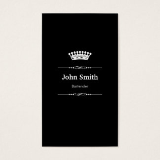 Cartes De Visite Blanc noir royal élégant de barman