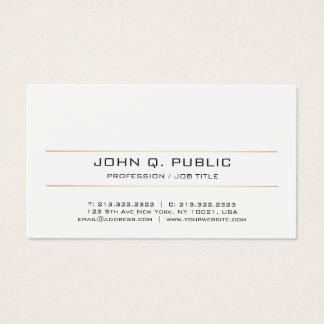 Cartes De Visite Blanc rayé d'or simple lisse élégant moderne