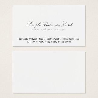 Cartes De Visite blanc simple et propre minimaliste