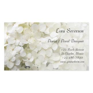 Cartes de visite blancs d'hortensia carte de visite