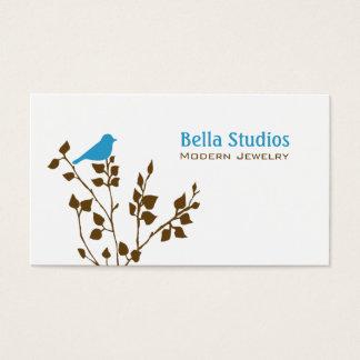 Cartes De Visite Bleu et oiseau mignons de Brown