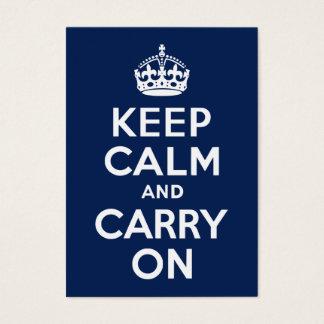 Cartes De Visite Bleu-foncé gardez le calme et continuez