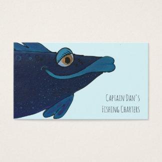 Cartes De Visite Bleu lunatique et génial de poissons, pourpre