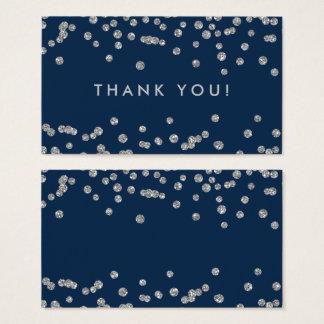 Cartes De Visite Bleu marine de confettis de parties scintillantes