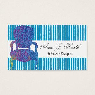 Cartes De Visite Bleu rayé élégant de dessinateur d'intérieurs