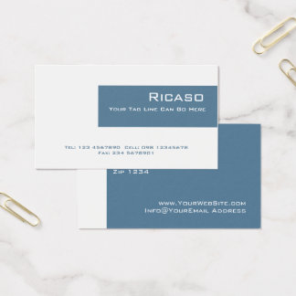 Cartes De Visite Bleu royal moderne et blanc