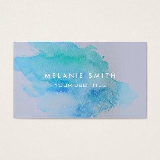 Cartes De Visite Bleu turquoise moderne d'éclaboussure d'aquarelle