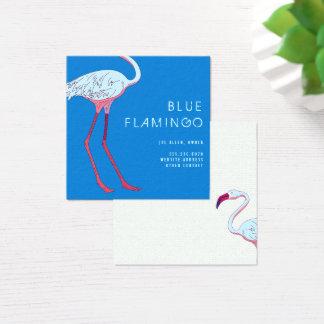 Cartes de visite bleus de carré de flamant