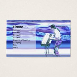 Cartes De Visite Bleus de musicien - affaires