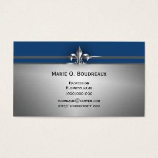 Cartes De Visite Blue Fleur de Lis gris moderne