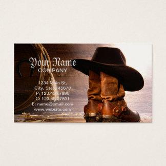 Cartes De Visite Bottes d'équitation et casquette de cowboy