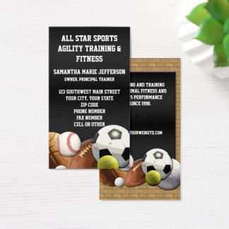 Cartes De Visite Boules de sports d'All Star avec le mur de briques