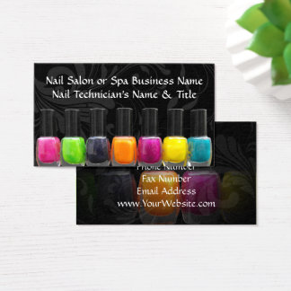 Cartes De Visite Bouteilles colorées de vernis à ongles, salon
