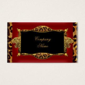 Cartes De Visite Boutique élégante 6 d'or noir rouge de léopard