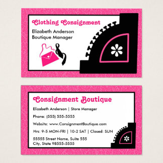 Cartes De Visite Boutique rose Girly d'expédition d'habillement de