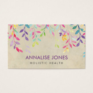 Cartes De Visite Branches d'aquarelle sur le papier vintage