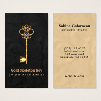 Cartes De Visite Brocanteur vintage de fausse clé d'antiquité d'or
