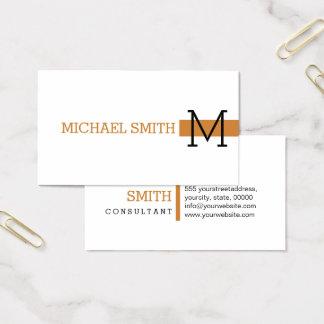 Cartes De Visite Bronze moderne blanc simple #2 de monogramme