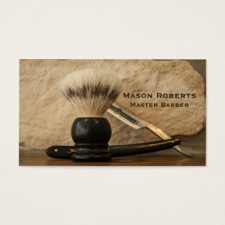 Cartes De Visite Brosse de rasage droite de rasoir de bord de