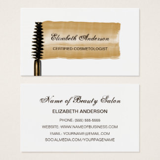 Cartes De Visite Brosse élégante de mascara d'or de Cosmetologist