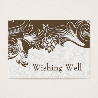 Cartes De Visite Brown et mariage floral blanc de ressort