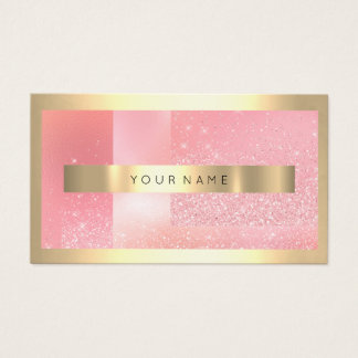 Cartes De Visite Cadre Confett rose scintillant métallique d'or de