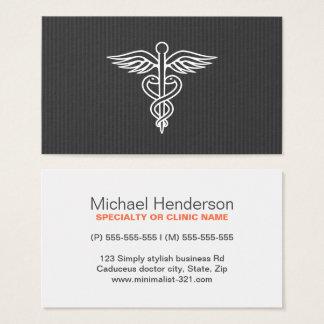 Cartes De Visite Caducée gris minimaliste moderne de médecin