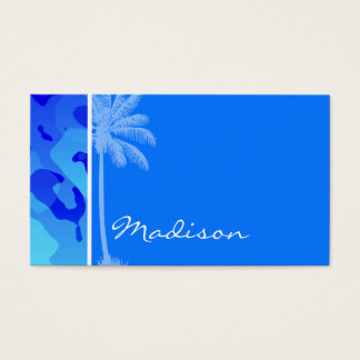Cartes De Visite Camo bleu électrique ; Paume d'été