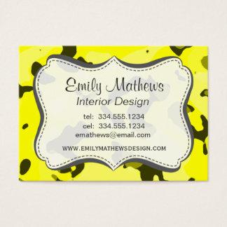 Cartes De Visite Camo jaune électrique ; Camouflage