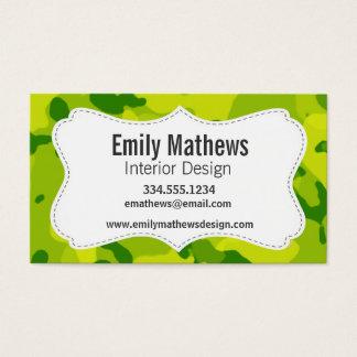 Cartes De Visite Camo vert pomme ; Camouflage