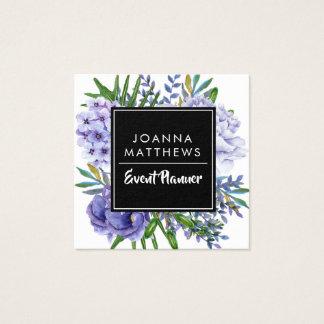 Cartes de visite carrés floraux de bleus modernes