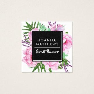 Cartes de visite carrés floraux roses à la mode
