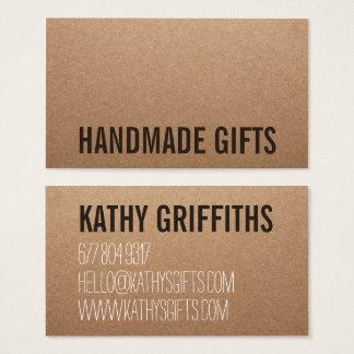 Cartes De Visite Carton fait main brun moderne rustique de papier