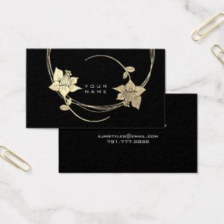 Cartes De Visite Charme floral blanc d'or de noir plus rusé de rose