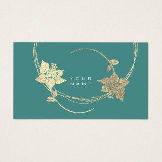 Cartes De Visite Charme vert turquoise floral d'or plus rusé