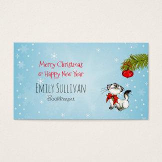 Cartes De Visite Chat curieux de Kitty dans un arc rouge de Noël