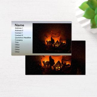 Cartes De Visite Chat noir de Halloween avec des lumières et des