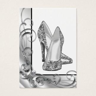 Cartes De Visite Chaussure argentée de talon haut de scintillement